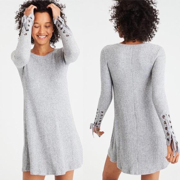 e77e8ca03fa American Eagle Lace-Up Sleeve Plush Dress In Gray